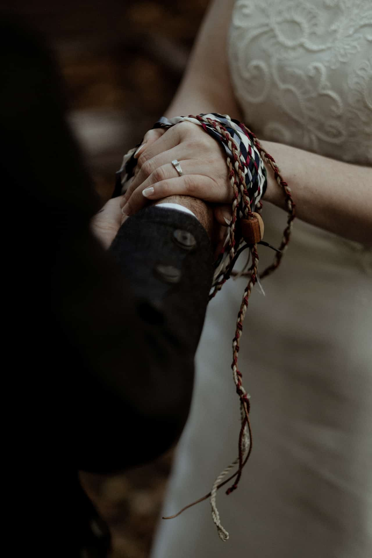 hand fasting ceremony in Scotland during an elopement in Glencoe