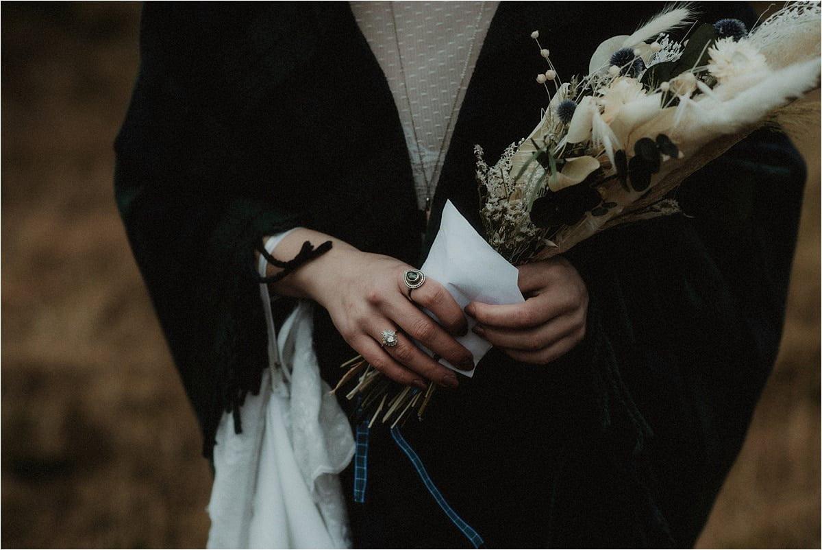 A bride holding flowers in Glencoe