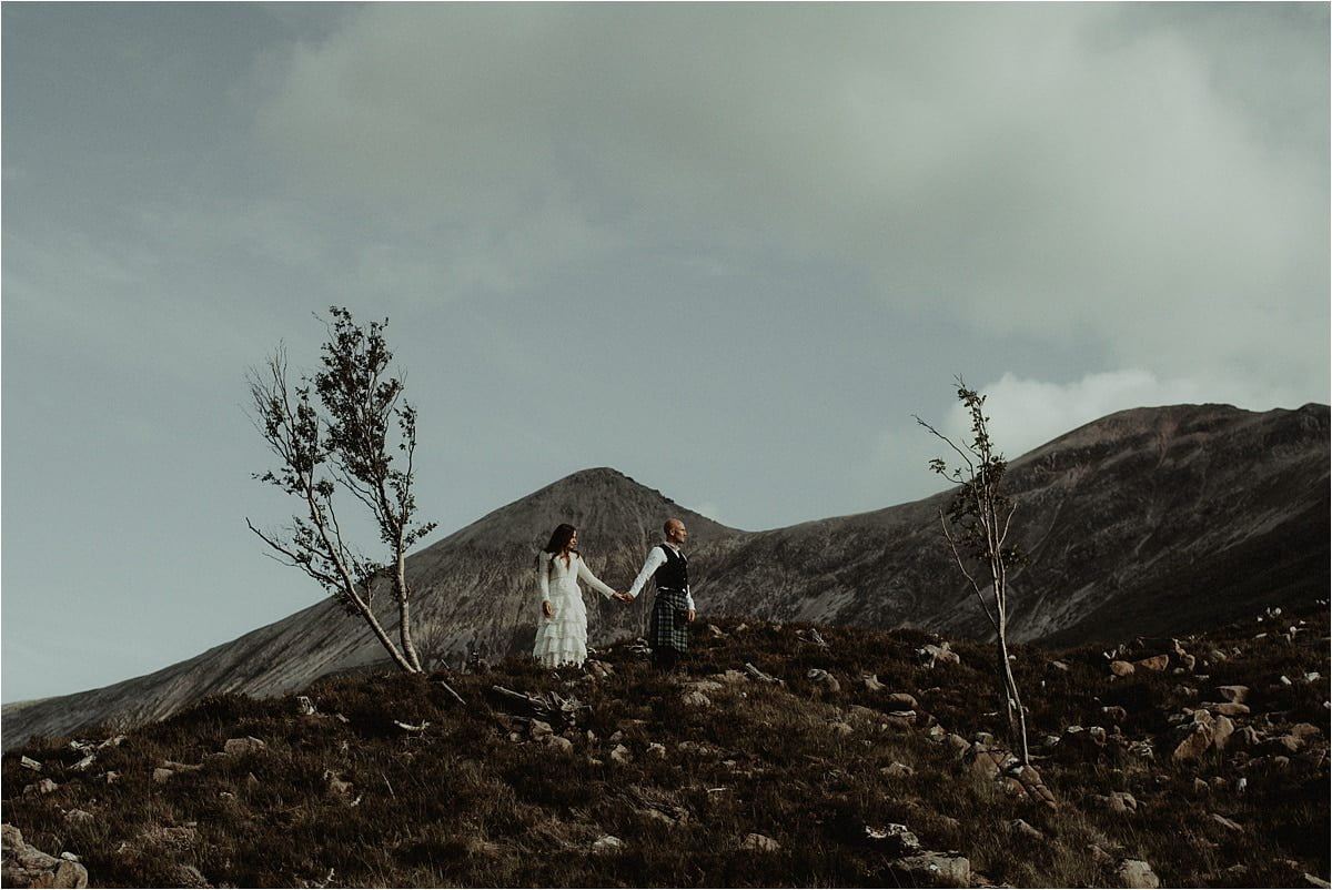 Bride and groom in Torridon during a Scottish elopement