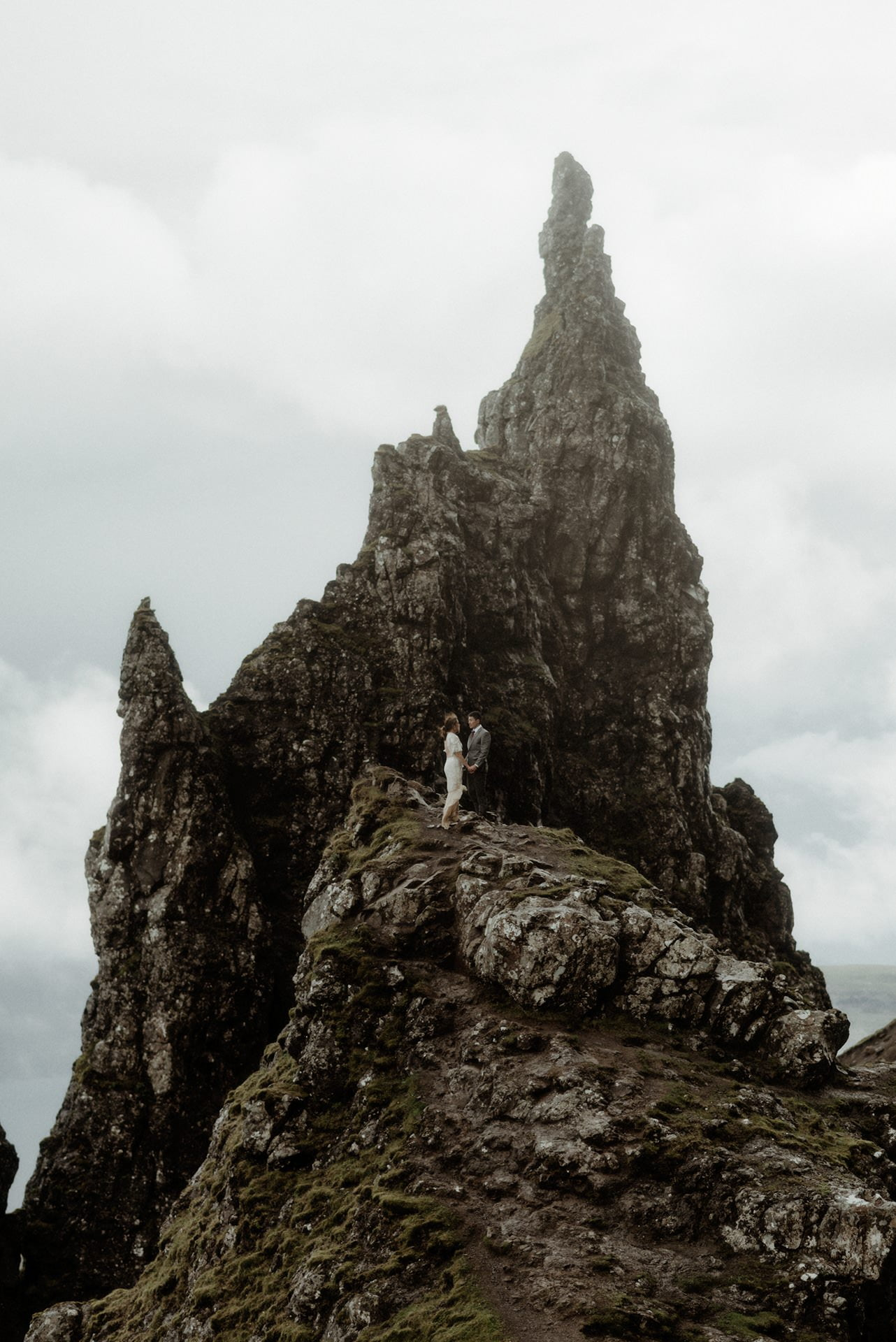 Couple on the old man of Storr during their Skye elopement