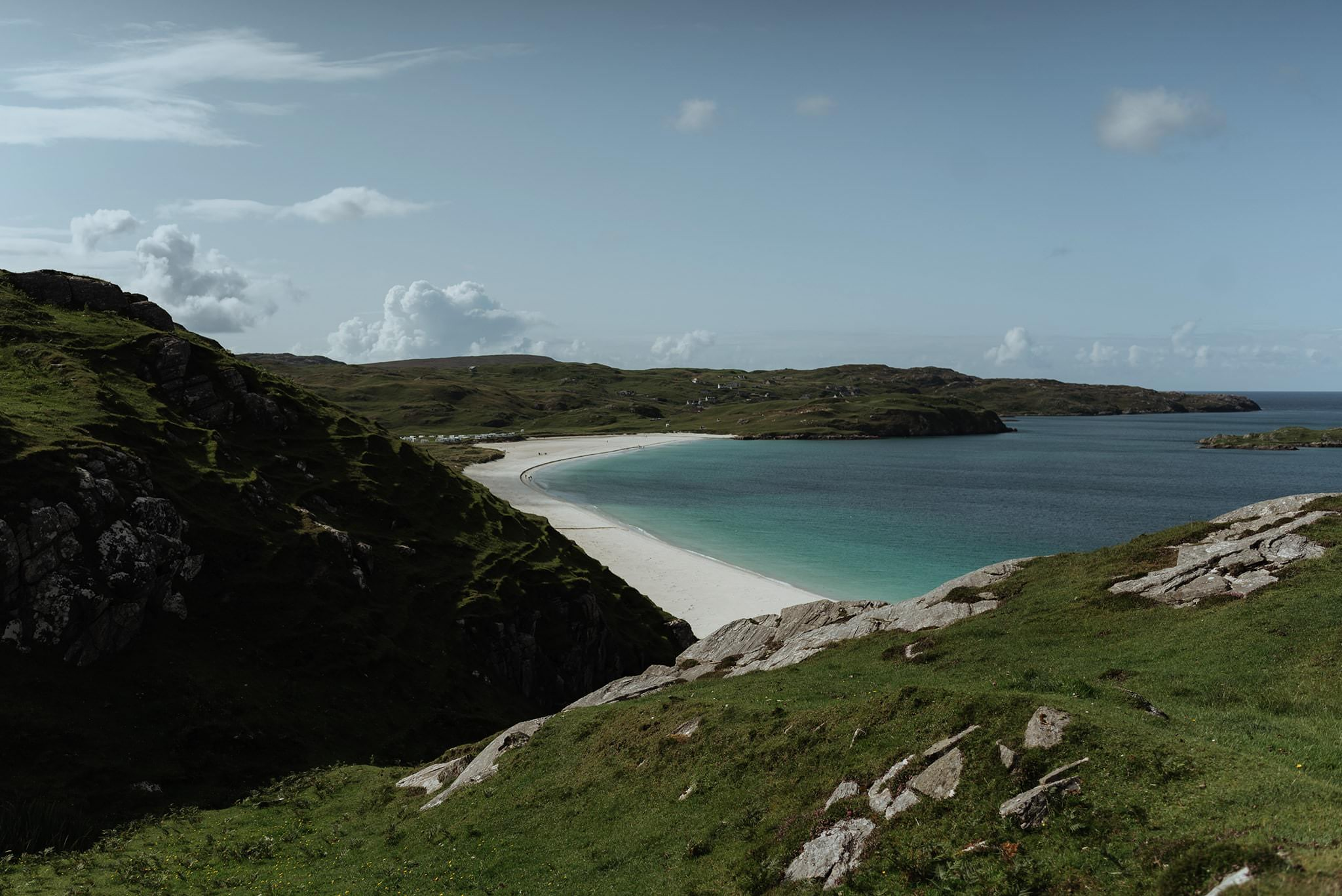beach on isle of lewis in the sunshine