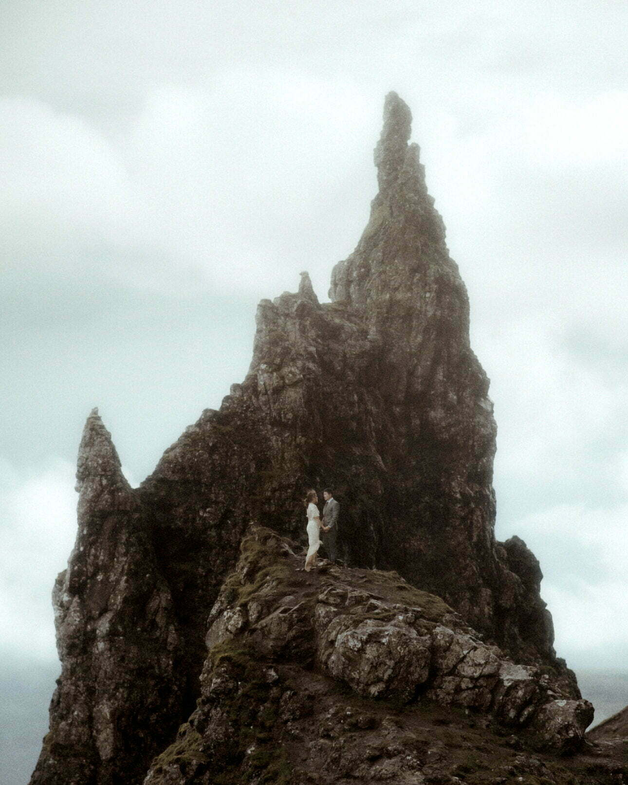 bride and groom elope to the old man of Storr on isle of skye