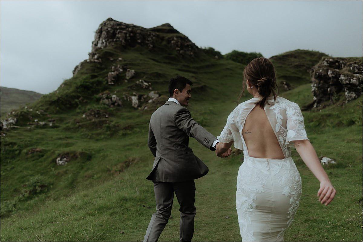 elope scotland couple at the fairy glen on skye