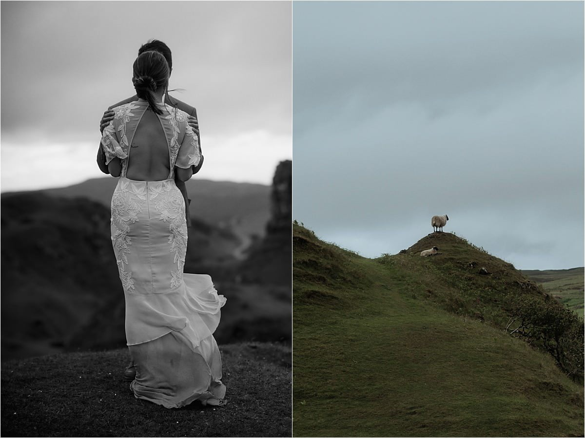 scottish elopement couple and sheep on the Isle of Skye