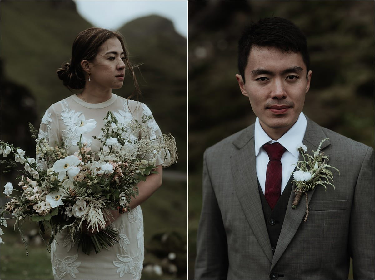 bride and groom and wild gorse flowers