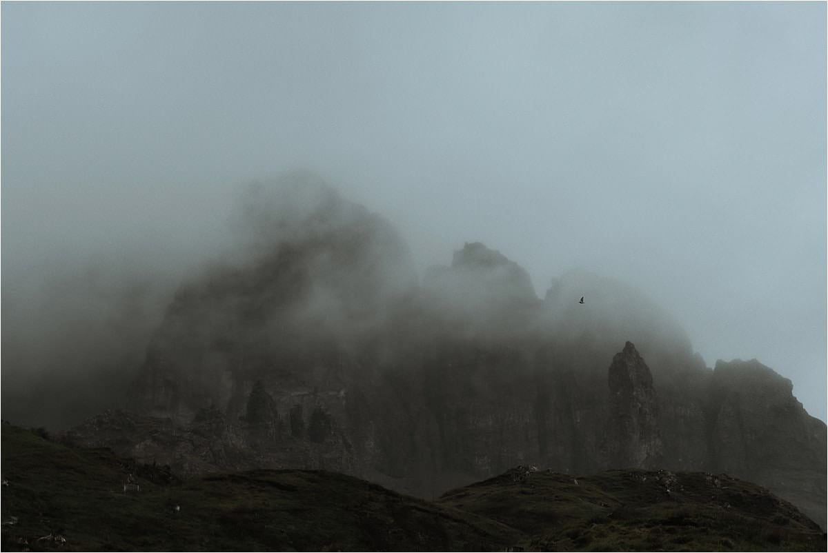 old man of storr in the rain on the isle of skye