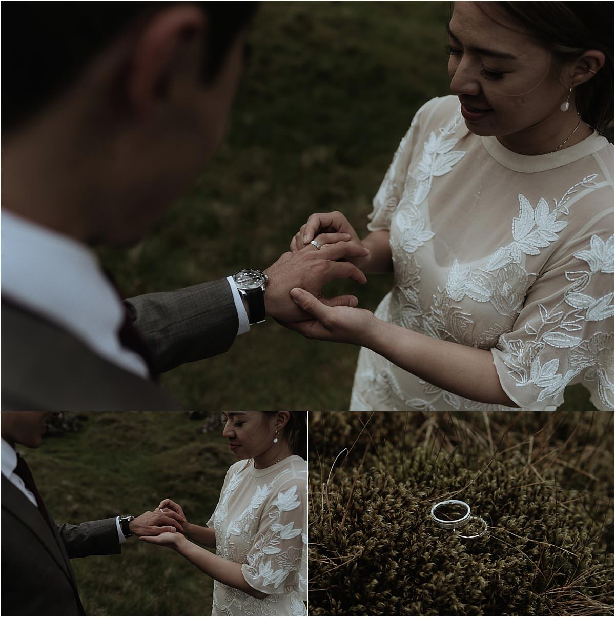 isle of skye elopement ceremony with rings