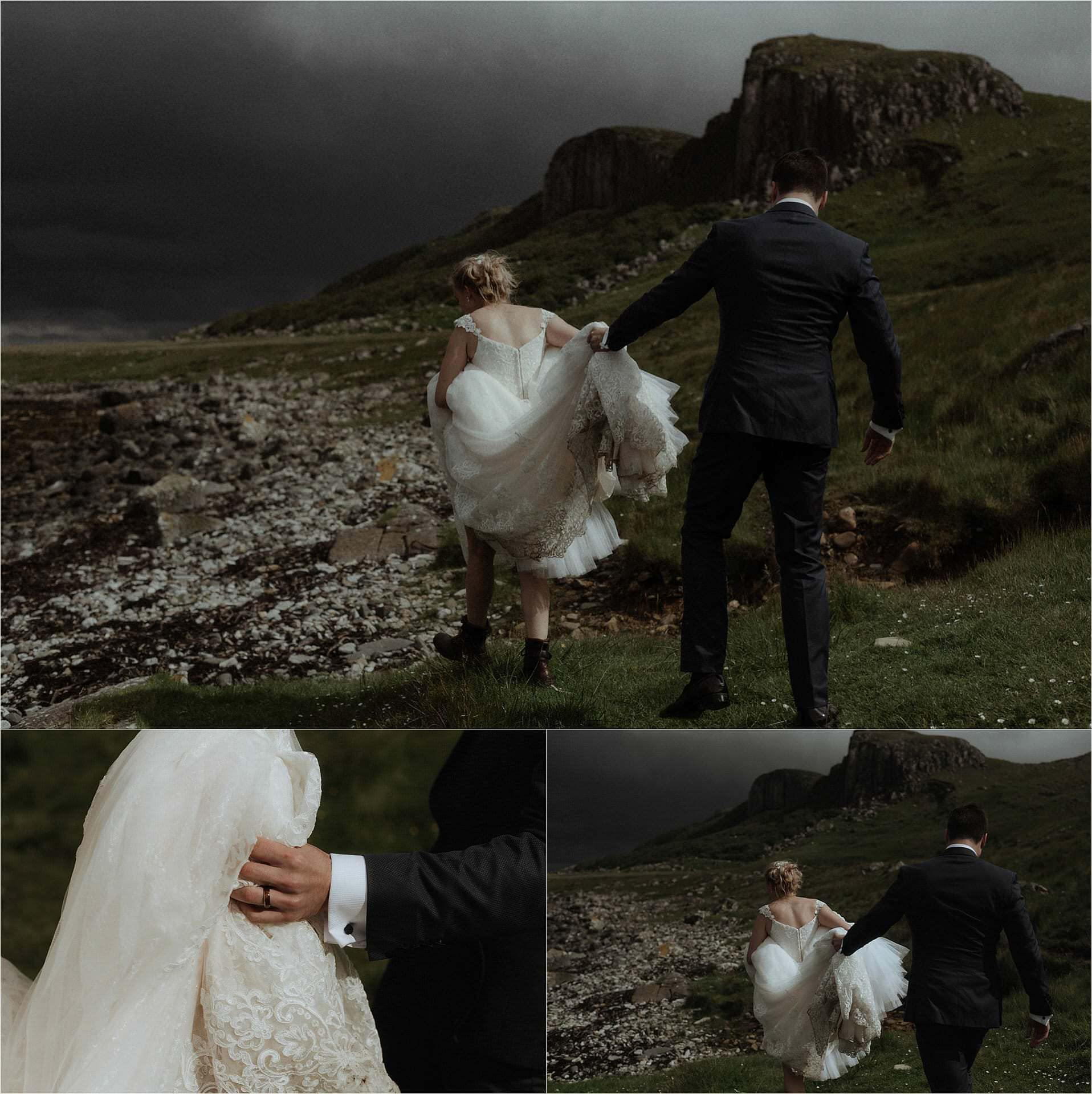 groom and bride during isle of skye elopement at staffin beach