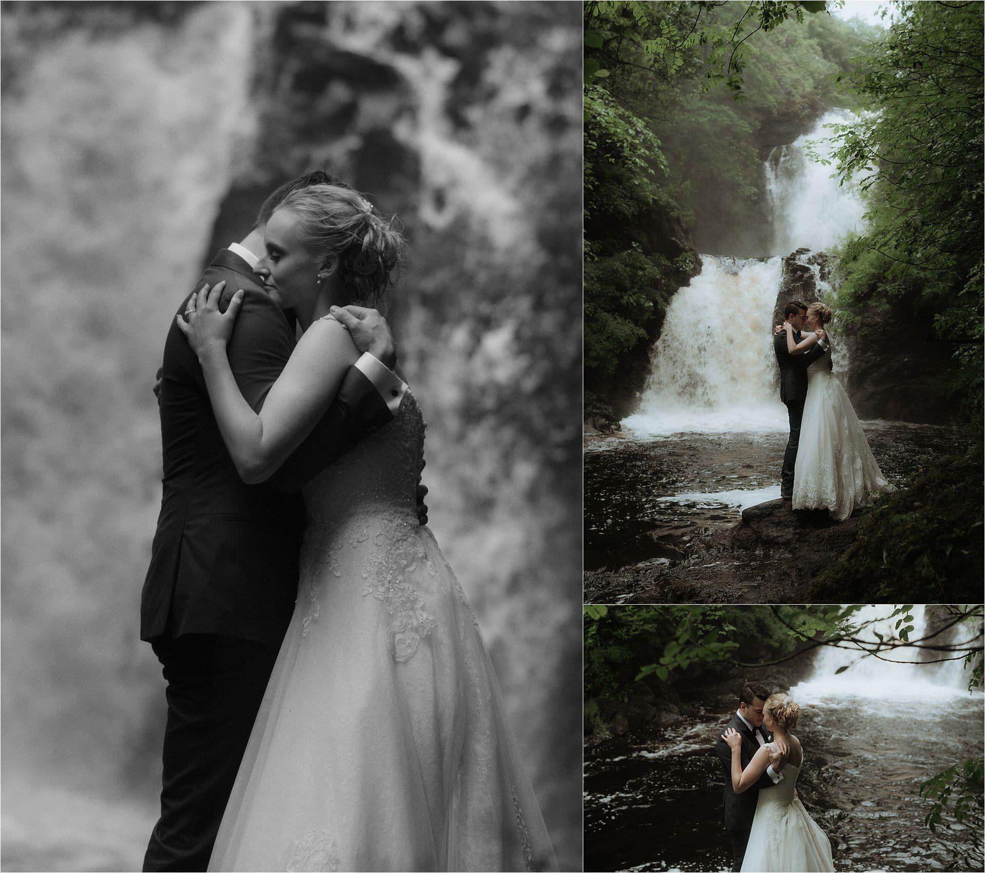 isle of skye elopement couple in the landscape ast raa falls