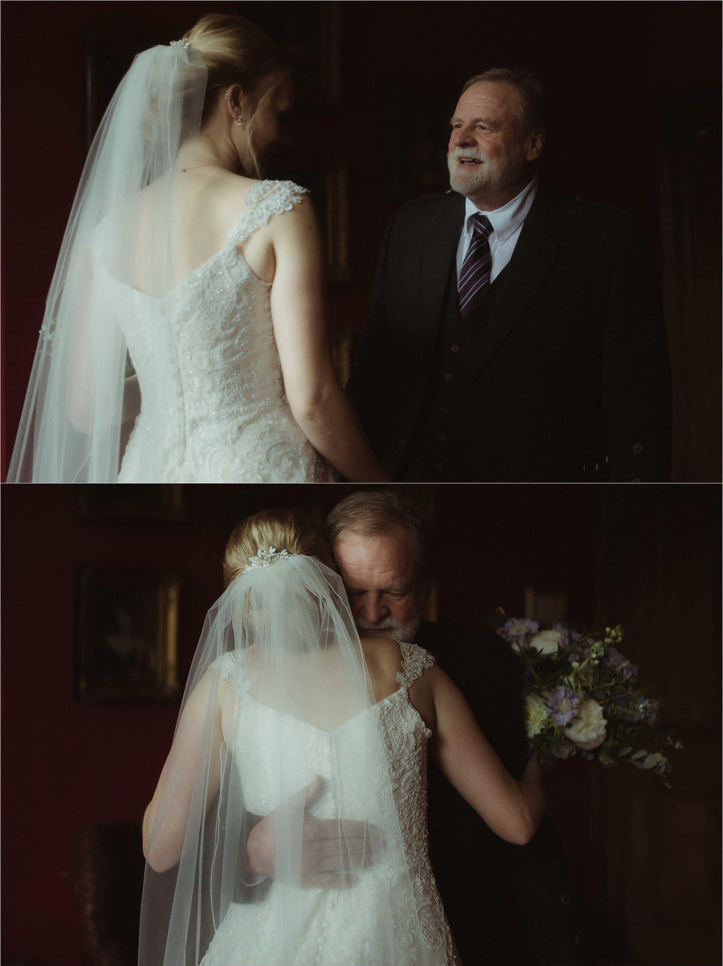 bride and dad in scotland