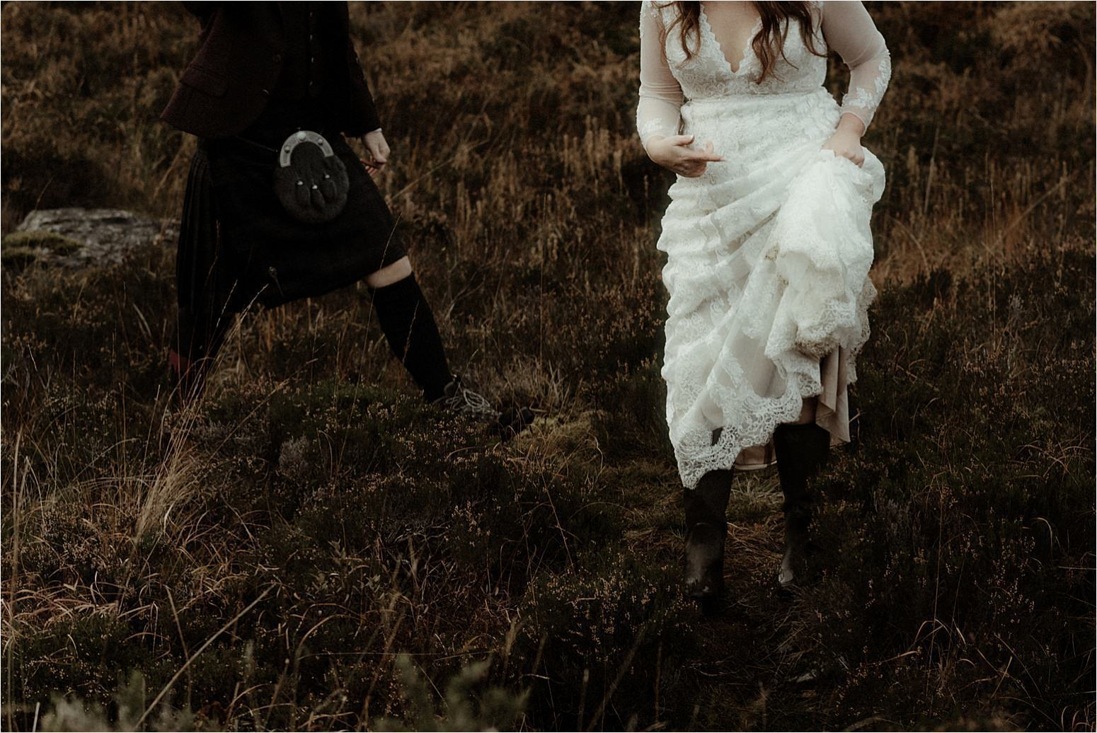 bride and groom feet in the outdoors in scotland