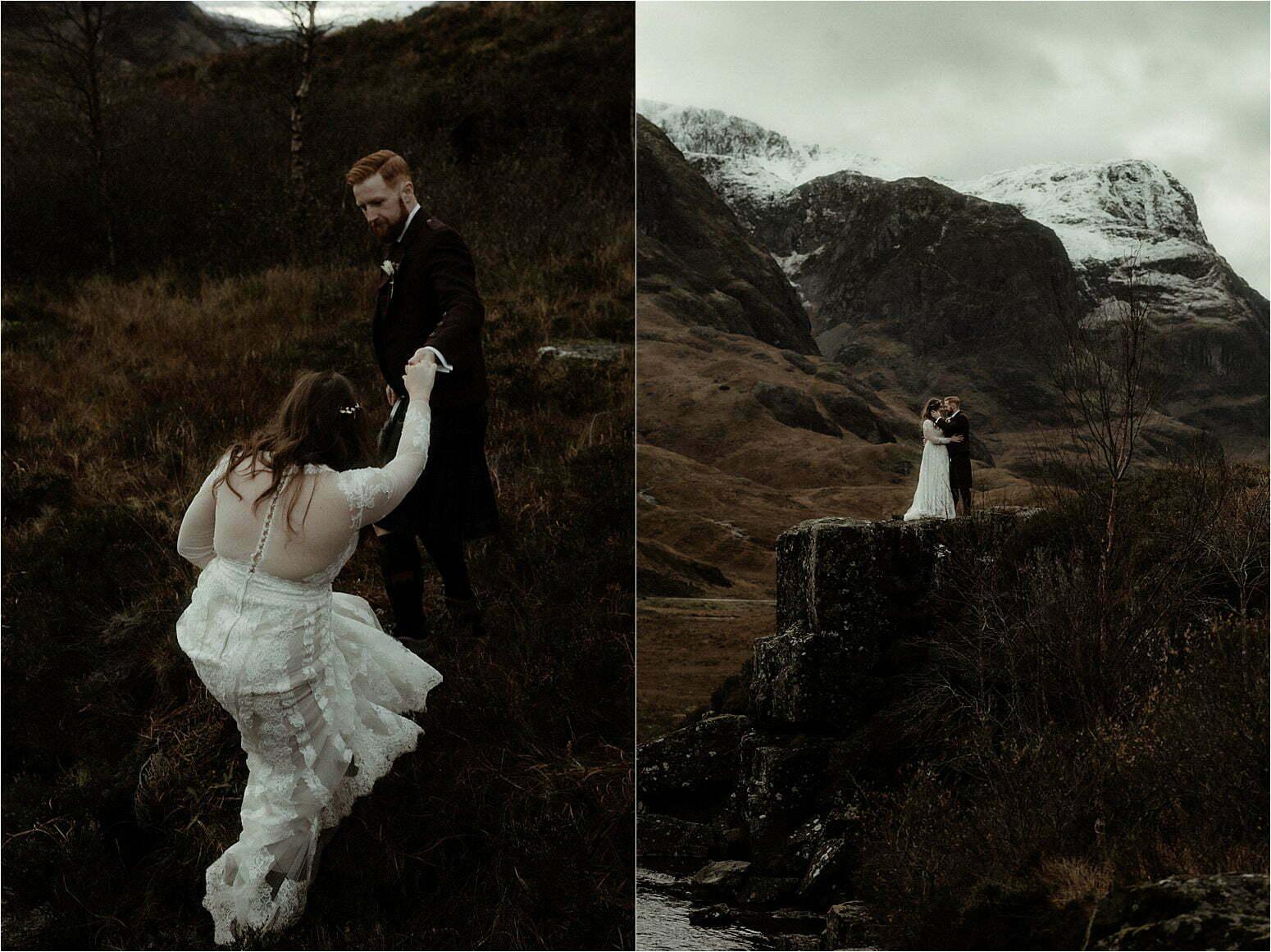 couple in glencoe during scottish elopement