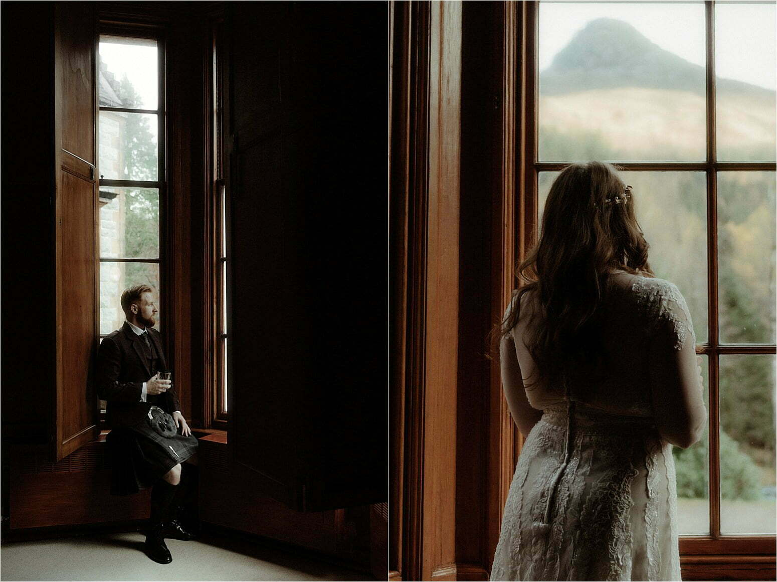 bride and groom getting ready during their elopement in scotland