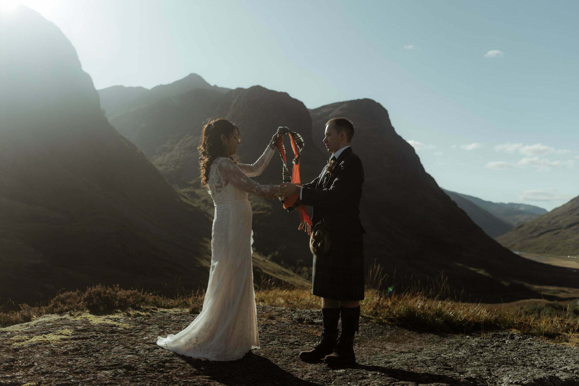 hand fasting ceremony during a Scottish elopement in Glencoe