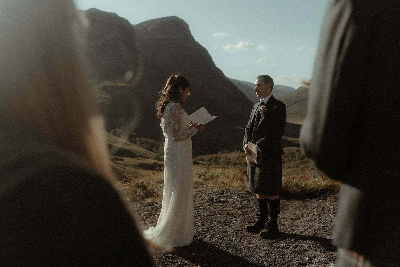 elopement ceremony taking place in Scotland in the mountains of glencoe