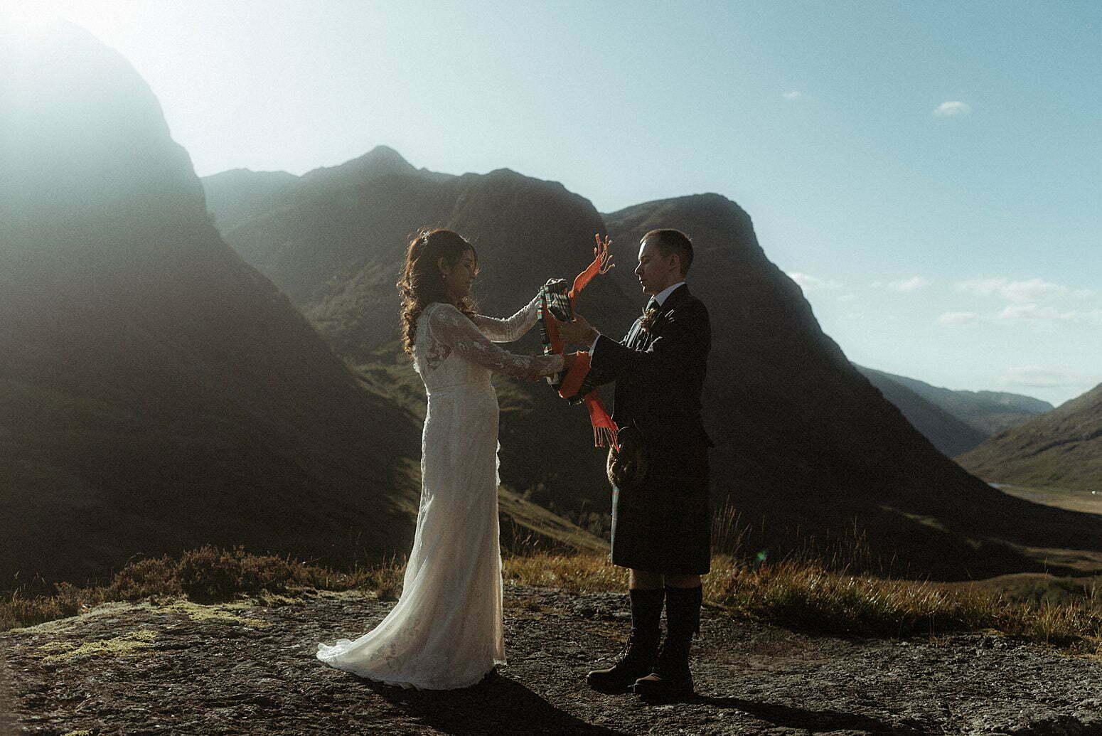 traditional Scottish handfasting taking place in Glencoe
