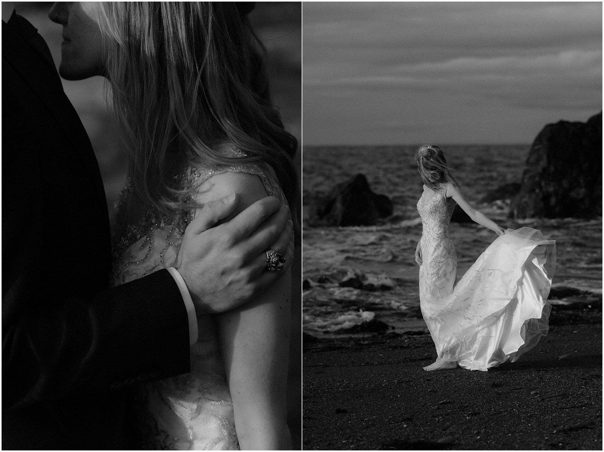 bride and groom standing on a beach in Scotland during a Scottish elopement