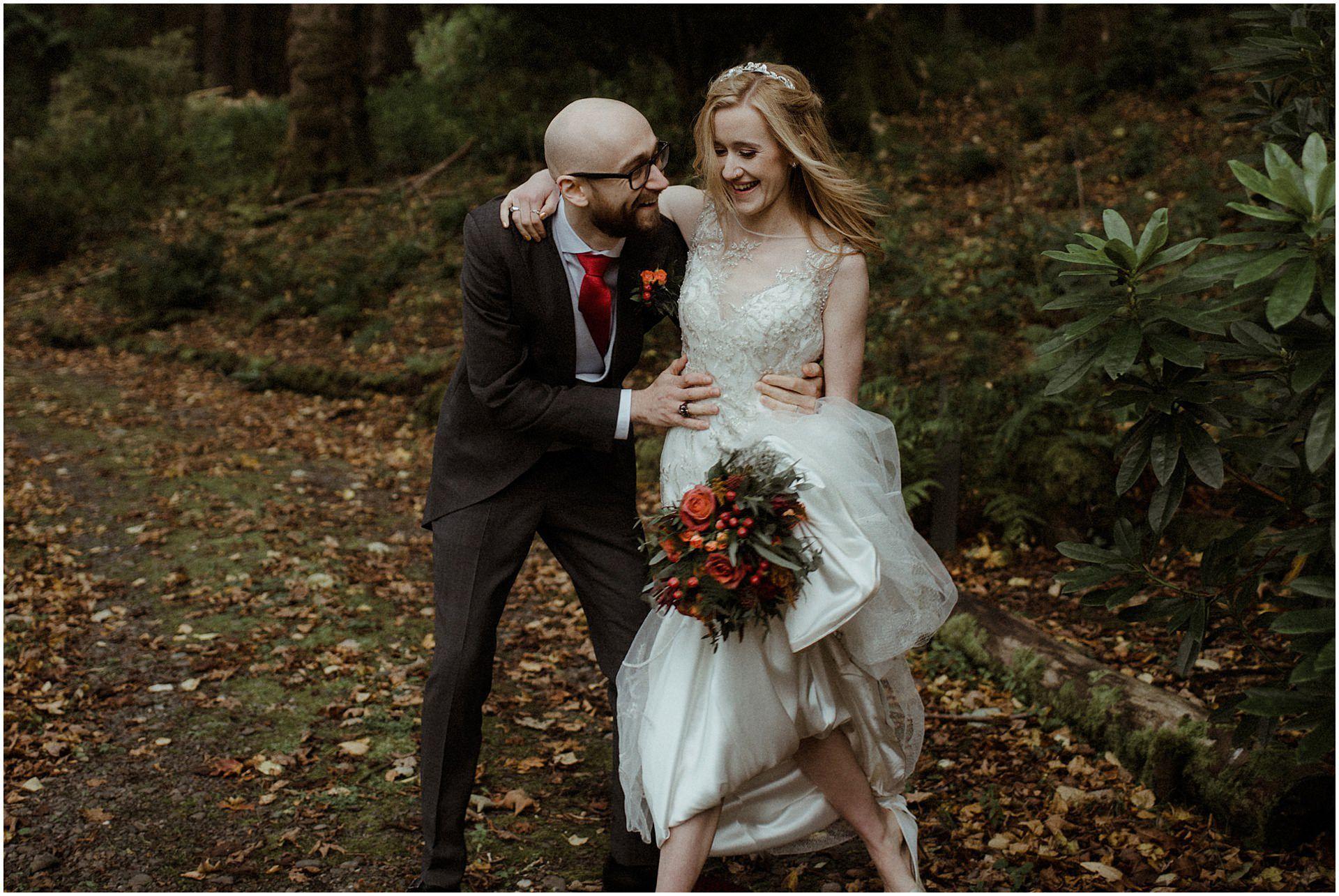 glencoe elopement bride and groom