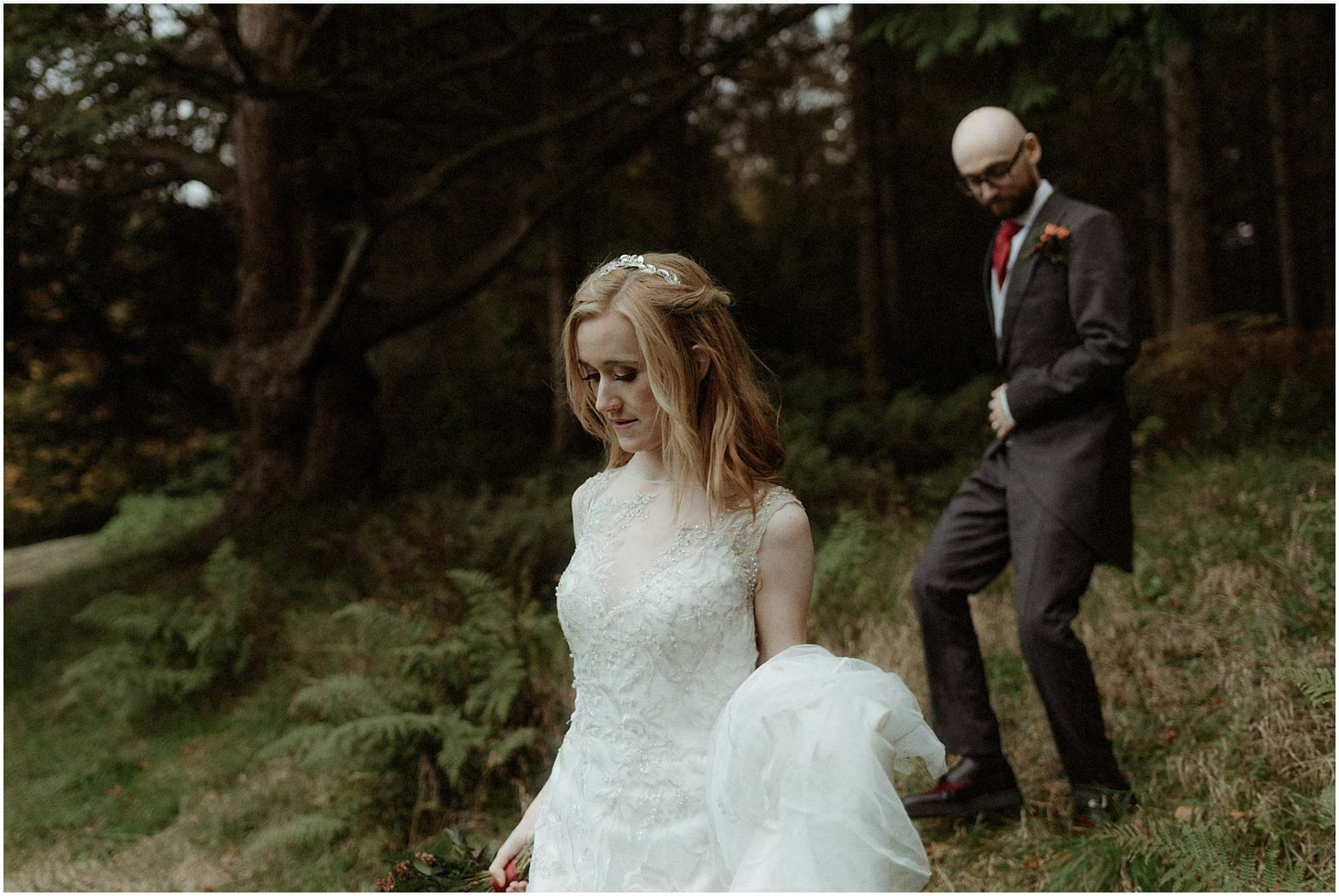 scotland wedding bride walking in woods