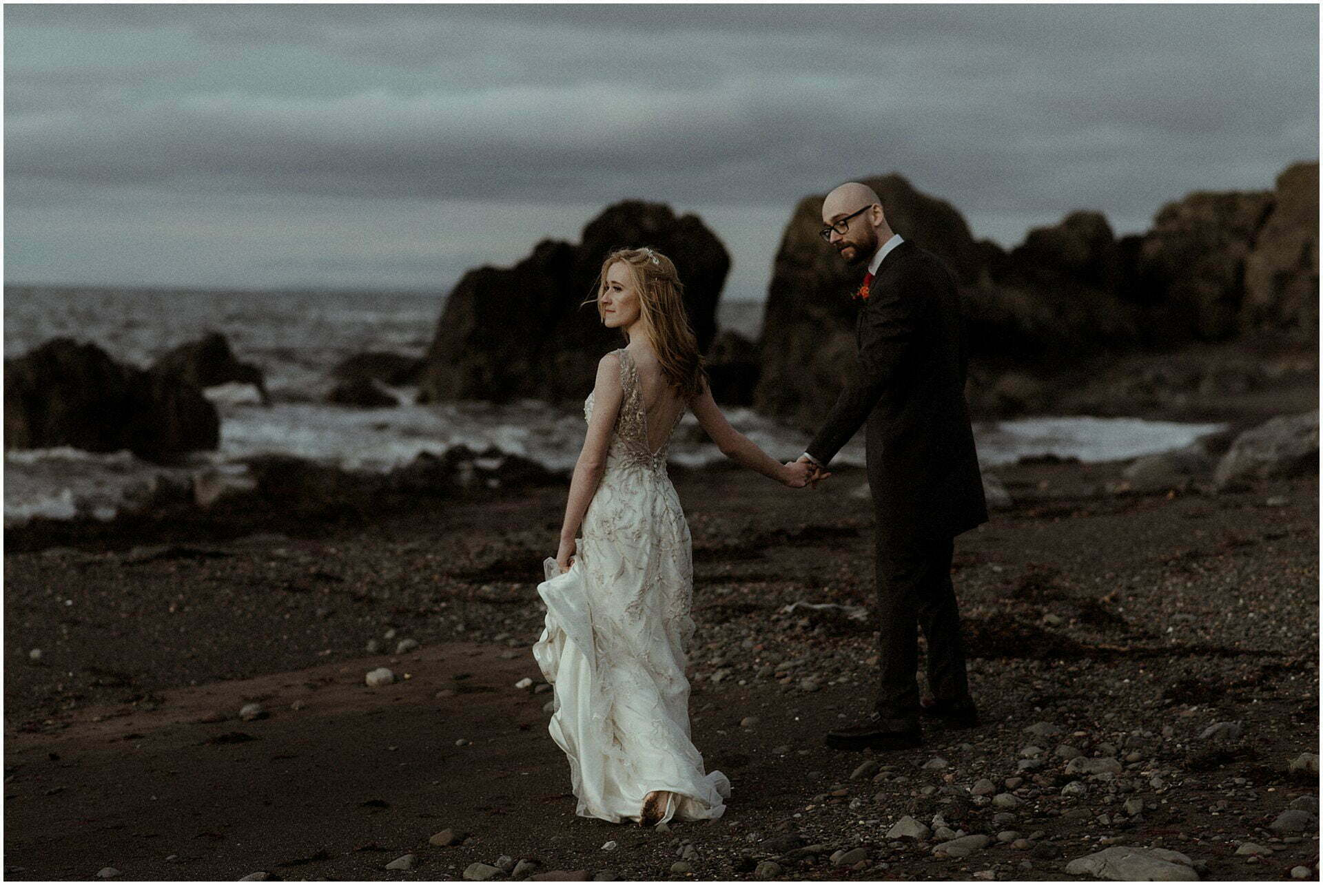 portrait of Bride and groom during scotland elopement on the west coast