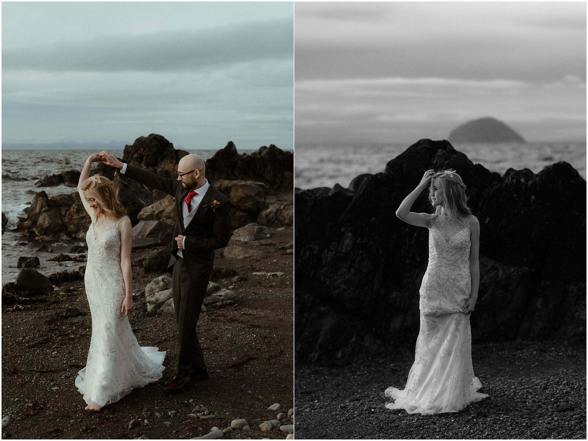 scotland elopement on the west coast with bride and groom on a beach